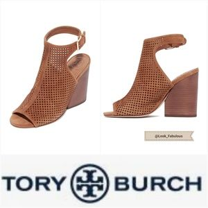 NWT TORY BURCH BROWN LEATHER OPEN TOE BOOTIES